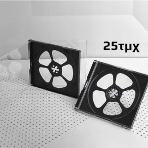 Πλαστική θήκη για 4 CD/DVD σε διάφανο/μαύρο χρώμα