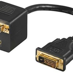 POWERTECH splitter DVI 24+1 M/DVI 24+1 F & HDMI F-0.20M