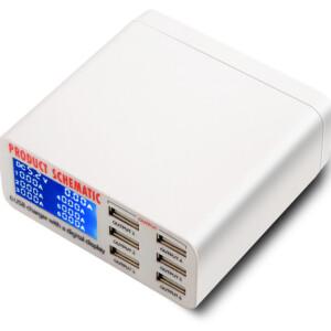 USB φορτιστής 6 θέσεων με LCD monitor UFC-899