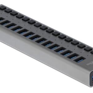 DELOCK hub 16x USB με διακόπτες 63978